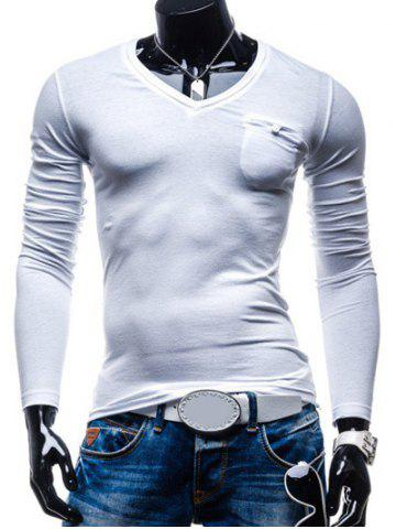 Chic Brief Style Pure Color Pocket Design Long Sleeve Tee For Men WHITE 2XL