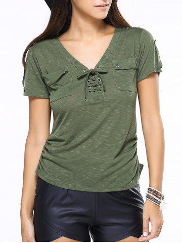 Latest V-Neck Lace-Up Short Sleeve T-Shirt