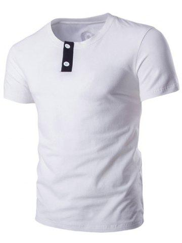 Classic Round Neck Button Design Short Sleeve T-Shirt For Men - WHITE 2XL