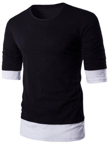Best Brief Style Round Neck Color Block Half Sleeve T-Shirt For Men BLACK 2XL