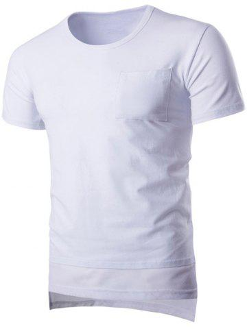 Hot Brief Style Pure Color Pocket Short Sleeve T-Shirt For Men WHITE L