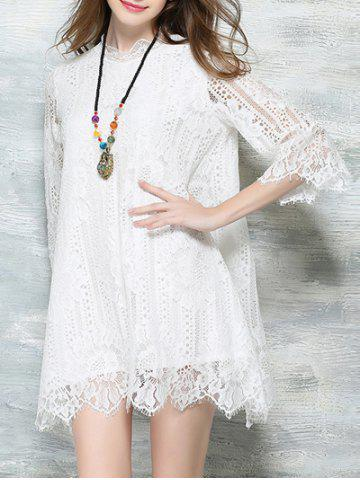 Outfits Sweet 3/4 Sleeve Lace Wavy Hem Dress For Women