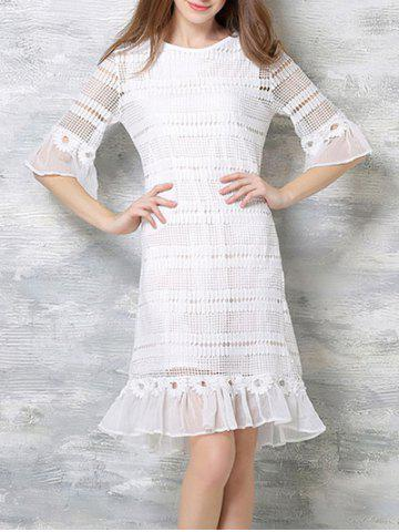 Fancy Elegant Flare Sleeve Chiffon Hem Lace Dress For Women