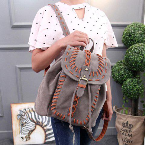 Outfit Leisure Buckle and Drawstring Design Backpack For Women