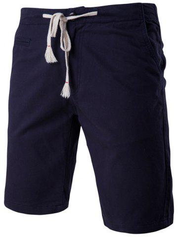 Online Fashion Faux-Pockets Design Drawstring Waistband Shorts For Men CADETBLUE 2XL