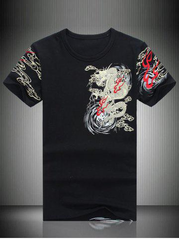 Chic Totem Print Embroidered Round Neck Short Sleeve T-Shirt For Men