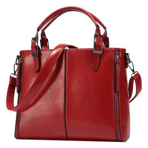 Discount Fashionable Zippers and Buckles Design Tote Bag For Women - WINE RED  Mobile