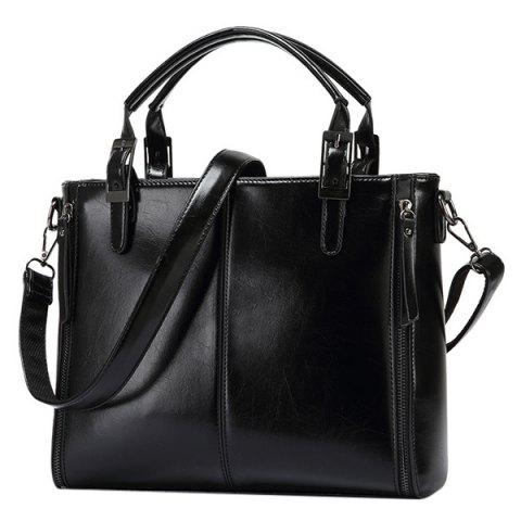 Affordable Fashionable Zippers and Buckles Design Tote Bag For Women - BLACK  Mobile