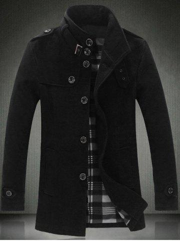 Cheap Elegant Stand Collar Slim Single Breasted Wool Overcoat For Men