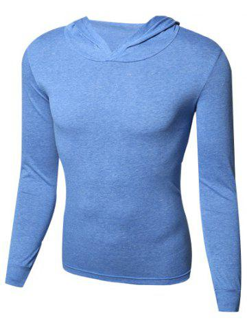 Shop Hooded Pure Color Slim Fit Long Sleeve T-Shirt For Men BLUE 2XL