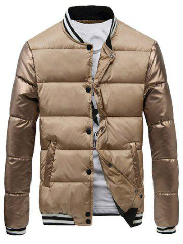 Online Varsity Snap Button Color Spliced Padded Coat For Men APRICOT XL