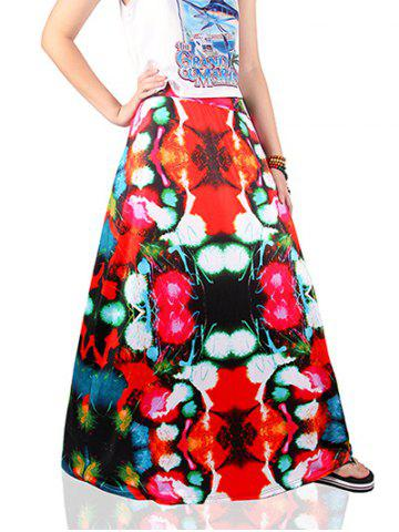 Unique Ethnic Style Colorful Print Skirt