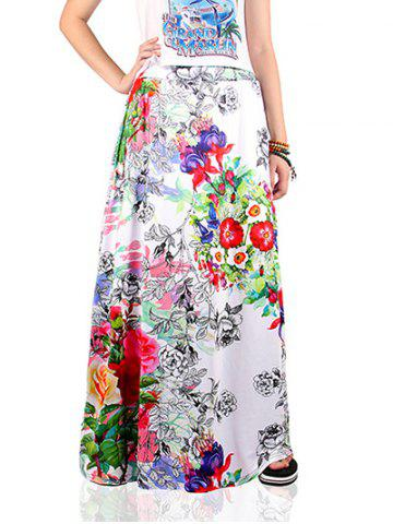 Chic Ethnic Style Floral Print Skirt