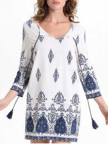 Fancy Bell Sleeve Cut Out Print Crochet Trim Peasant Dress - L WHITE Mobile