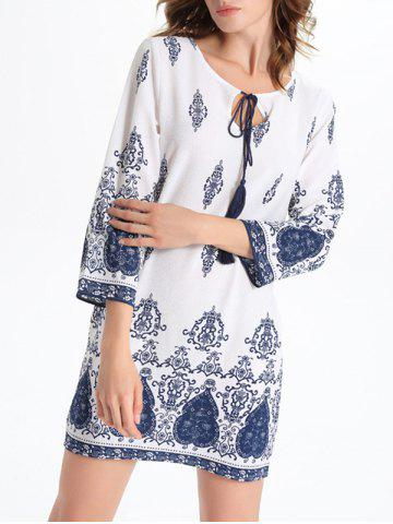 Store Bell Sleeve Cut Out Print Crochet Trim Peasant Dress - L WHITE Mobile