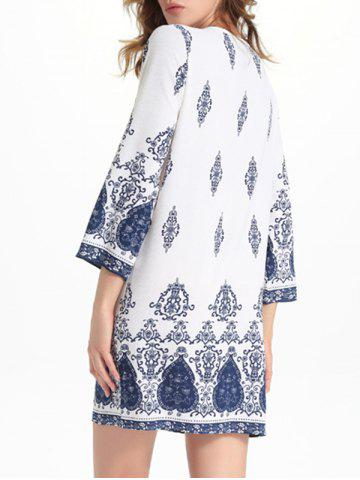 Store Bell Sleeve Cut Out Print Crochet Trim Peasant Dress - XL WHITE Mobile