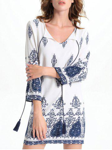 Fancy Bell Sleeve Cut Out Print Crochet Trim Peasant Dress - M WHITE Mobile