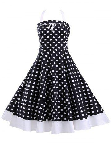 Halter Polka Dot Lace-Up Tea Length A Line Dress - Black - S