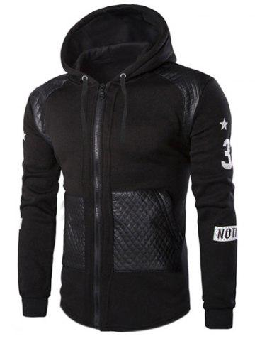 Affordable Casual Splicing Zipper Hoodie For Men - L BLACK Mobile