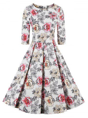 Cheap Floral Fit and Flare Swing Dress