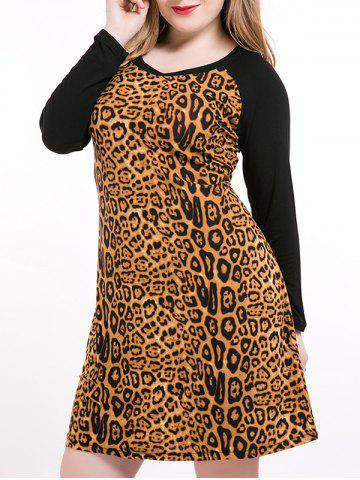 Outfit Plus Size Leopard Long Sleeve Tee Dress - 5XL LEOPARD Mobile