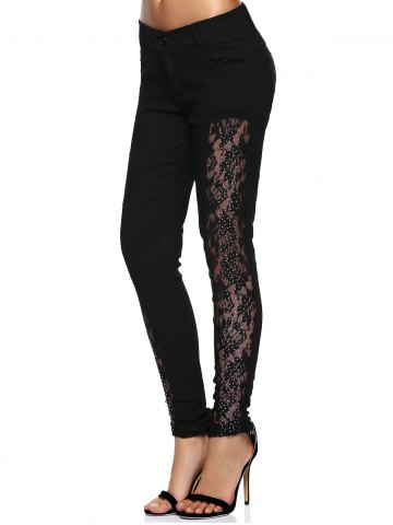 Cheap Stylish See-Through Beaded Lace Denim Pants For Women