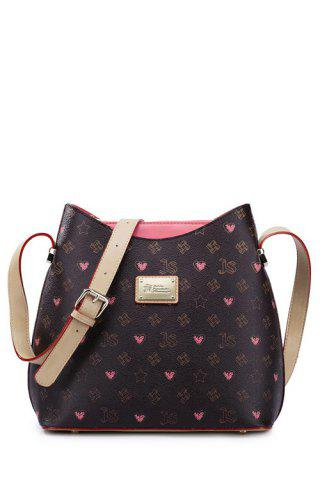 Online Vintage Graffiti Print Shoulder Bags RED