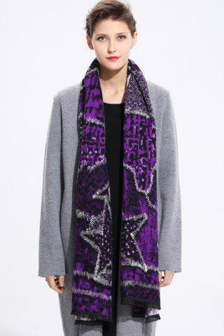 Star Printed Cashmere Scarf - Purple - 2xl