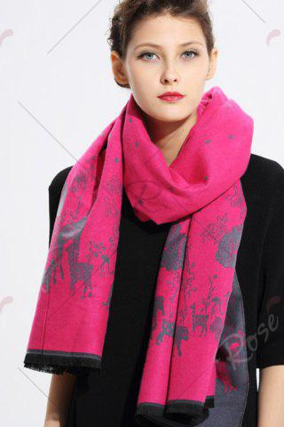 Buy Printed Cashmere Scarf - WATER RED  Mobile