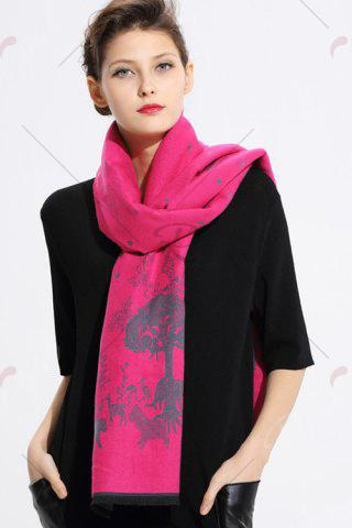 Unique Printed Cashmere Scarf - WATER RED  Mobile
