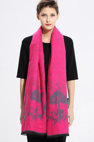 Printed Cashmere Scarf - Water Red - 2xl