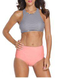 Stripe High Neck Racerback Tankini Swimsuit