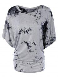 Scoop Neck Dolman Sleeve Tie-Dyed T-Shirt -