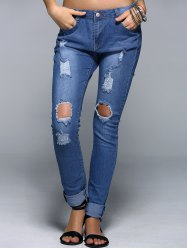 Broken Hole Narrow Feet Women's Jeans - DENIM BLUE