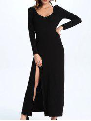 Charming Scoop Neck High Slit Slimming Women's Dress