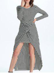 Trendy Striped Twist-Front Asymmetrical Women's Dress - STRIPE