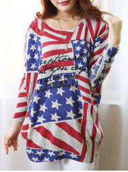 Fashionable Scoop Neck Long Sleeve Flag Print Sweater For Women -