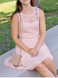 Chiffon Round Collar Sleeveless Club Dress - LIGHT PINK