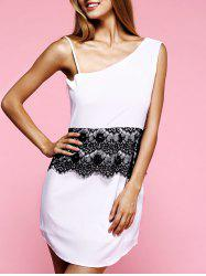 Charming Sloping Neck Sleeveless Lace Spliced Women's Dress -
