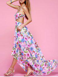 Plunge Backless Floral Maxi Flowy Dress - WHITE XL