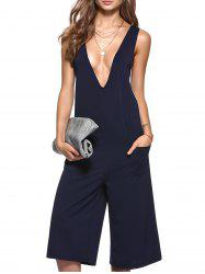 Simple Plunging Neck Pocket Design Wide Leg Jumpsuit