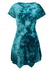 Short Sleeve Round Neck Tie-Dyed Asymmetric Dress - CYAN