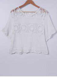 Sweet Crochet Scoop Neck Short Sleeves Blouse For Women -