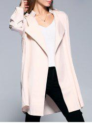 Long Sleeve Turn-Down Collar Women's Long Coat - KHAKI