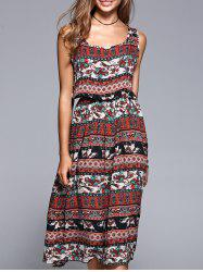 Bohemian Style Tribal Pattern Elastic Waist Midi Dress - RED