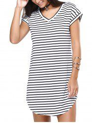 V-Neck Striped Casual Short Sleeves Dress