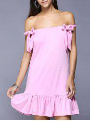 Off The Shoulder Bowknot Ruffled Dress -