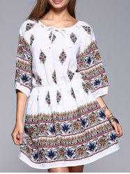 Ethnic Style Waisted Floral Pattern Lace-Up Dress -