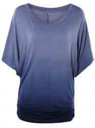 Scoop Neck Dolman Sleeve Ombre T-Shirt -