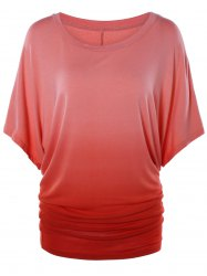 Scoop Neck Dolman Sleeve Ombre T-Shirt